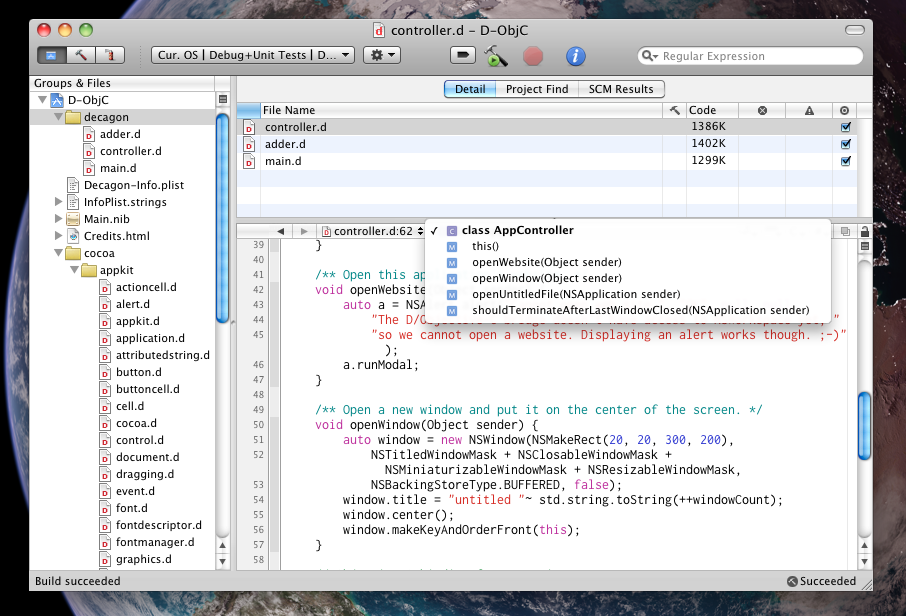 D for Xcode